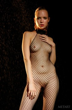 Ginger cutie poses in a fishnet catsuit