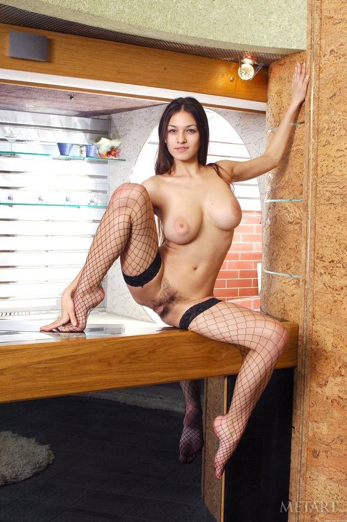 busty cutie in fishnet stockings shows hairy pussy. - simplemetart