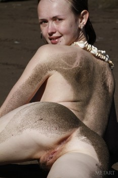Wet, dirty, and naked at the beach