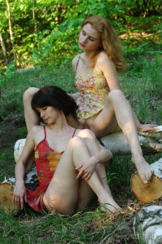 Chicks masturbate together outdoors.