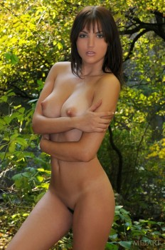 Brunette gal showing her nice bush outdoors